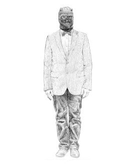 "JAVIER JOVEN, ""Terrorista"", lápiz digital sobre tableta Bamboo, 49x39 cm"